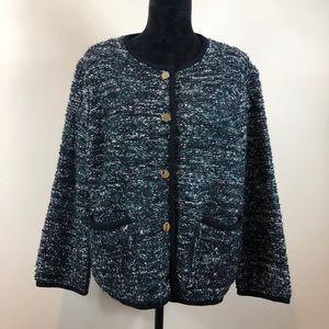 Ann Taylor Black & Green Tweed Blazer XXL NWT